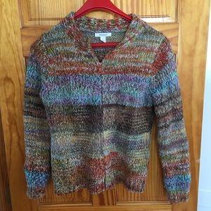 Dress Barn zip-up multicolored sweater. Small.